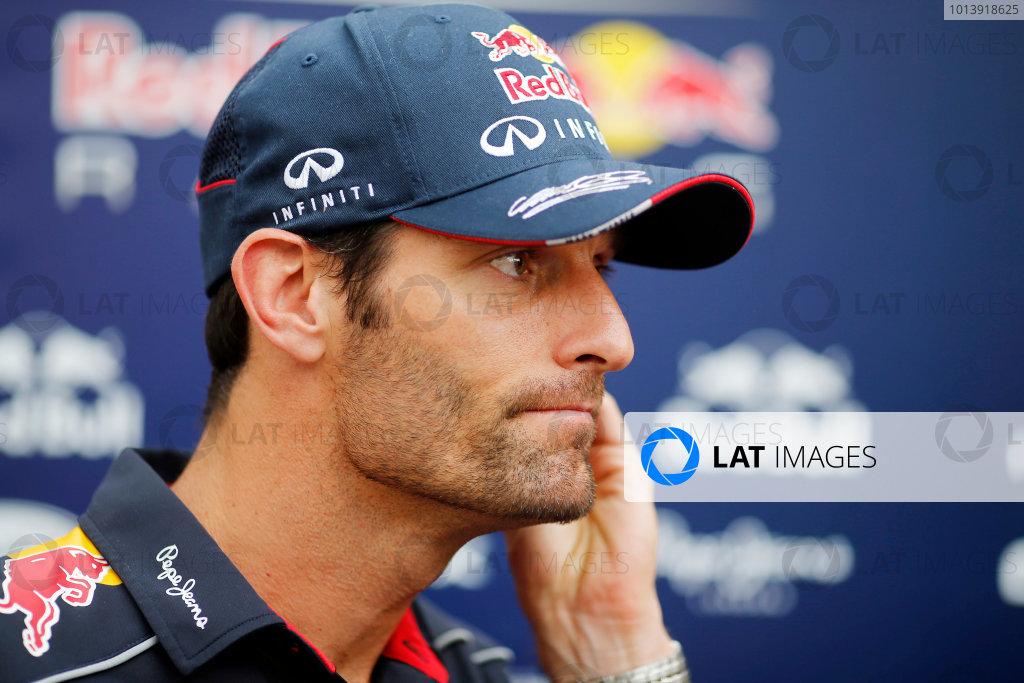 Bahrain International Circuit, Sakhir, Bahrain Friday 19th April 2013 Mark Webber, Red Bull Racing.  World Copyright: Steven Tee/LAT Photographic ref: Digital Image _14P7552A