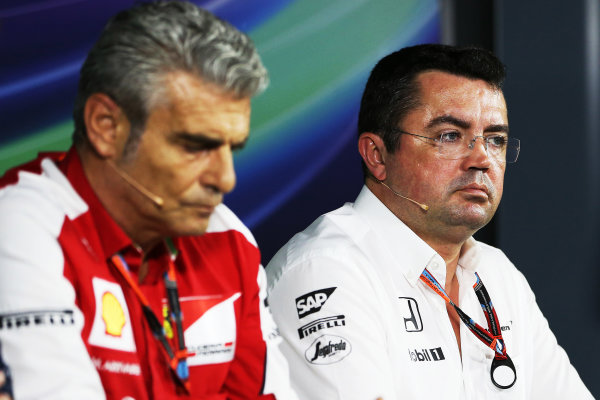 Autodromo Nazionale di Monza, Monza, Italy. Friday 4 September 2015. Mauricio Arrivabene, Team Principal, Ferrari, and Eric Boullier, Racing Director, McLaren, in the Team Principals Press Conference. World Copyright: Jed Leicester/LAT Photographic ref: Digital Image JL2_8042