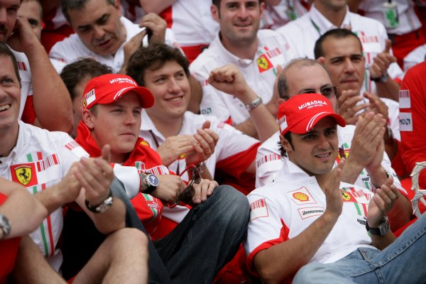 2007 French Grand Prix - Sunday RaceCircuit de Nevers Magny Cours, Nevers, France.1st July 2007.Kimi Raikkonen and Felipe Massa celebrate a Ferrari 1-2 with Jean Todt and the team.World Copyright: Andrew Ferraro/LAT Photographicref: Digital Image VY9E3437