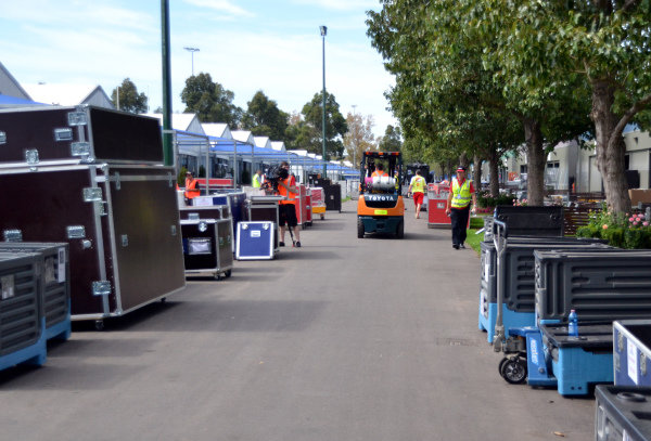 Freight is unloaded in the Paddock.
