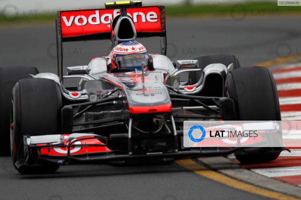 Albert Park, Melbourne, Australia 25th March 2011. Jenson Button, McLaren MP4-26 Mercedes. Action.  World Copyright: Andrew Ferraro/LAT Photographic ref: Digital Image _Q0C8248