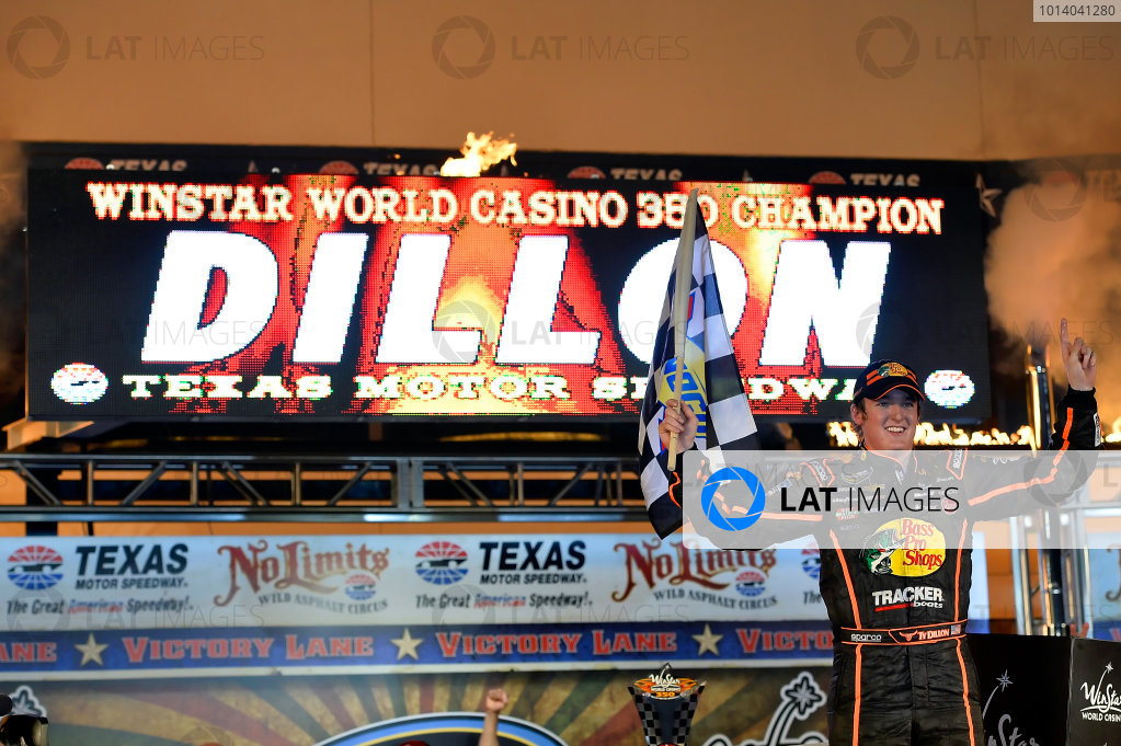 October 31-November 01, 2013, Fort Worth, Texas USA Ty Dillon in Victory Lane © 2013, Brian Czobat LAT Photo USA