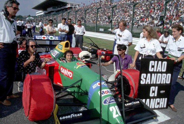 Nelson Piquet sits in his Benetton B190 Ford on the grid.