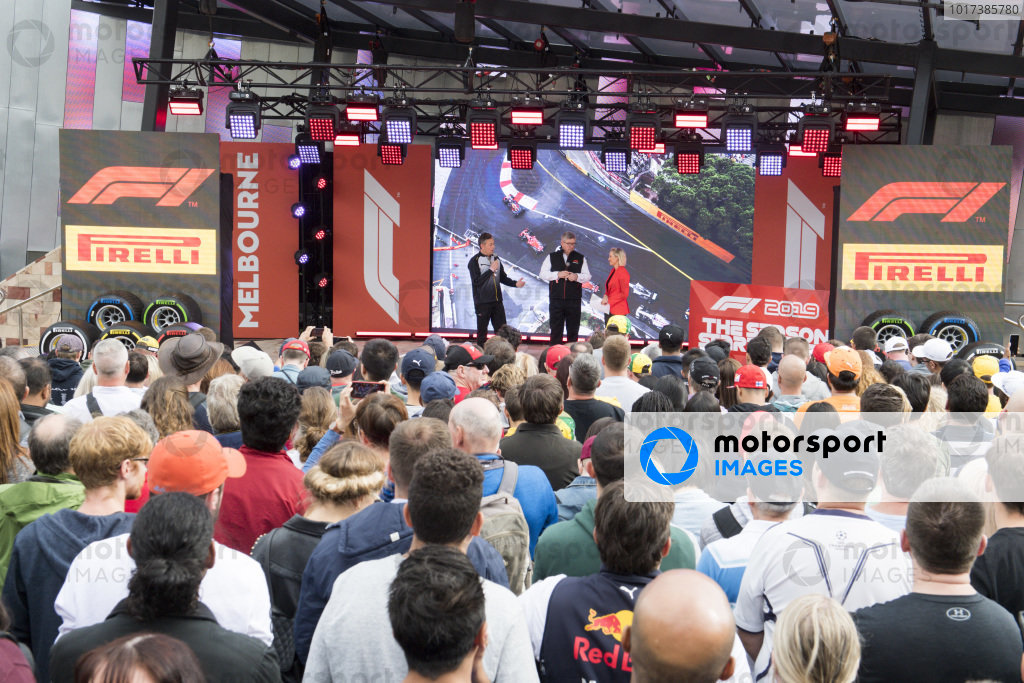 Mario Isola, Racing Manager, Pirelli Motorsport, and Ross Brawn, Managing Director of Motorsports, FOM, on stage at the Federation Square event