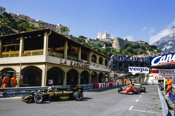 Elio de Angelis, Lotus 97T Renault, leads Michele Alboreto, Ferrari 156/85.