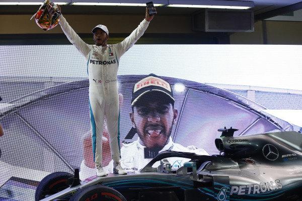 Lewis Hamilton, Mercedes AMG F1, 1st position, celebrates victory