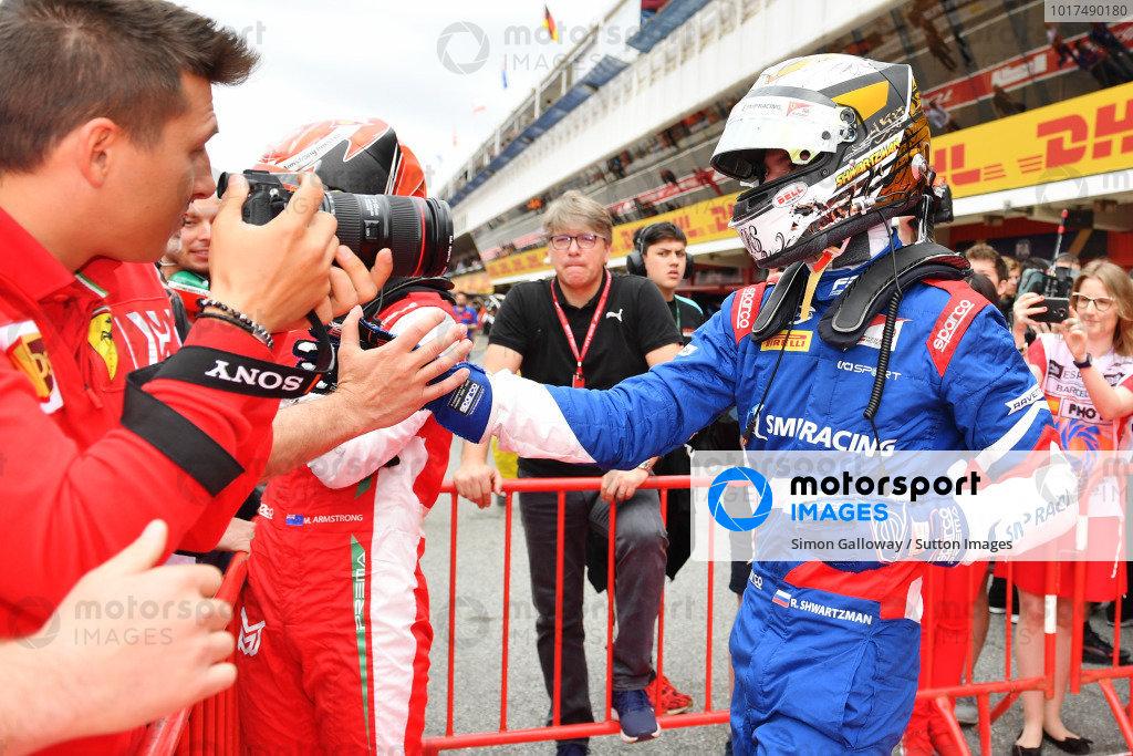 Robert Shwartzman (RUS) PREMA Racing, celebrates in Parc Ferme