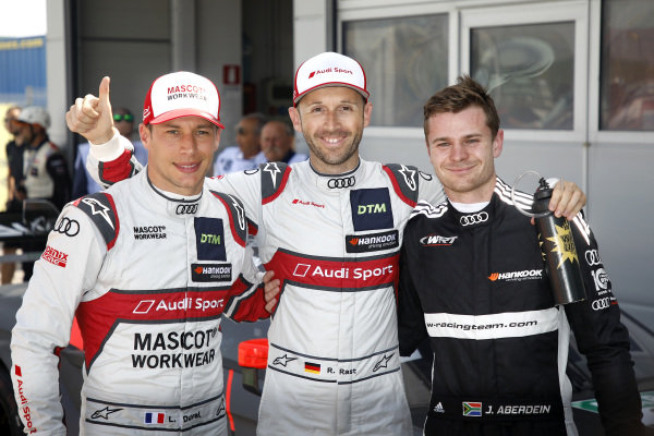 Top 3 after Qualifying, Pole sitter René Rast, Audi Sport Team Rosberg, Loic Duval, Audi Sport Team Phoenix, Jonathan Aberdein, Audi Sport Team WRT.