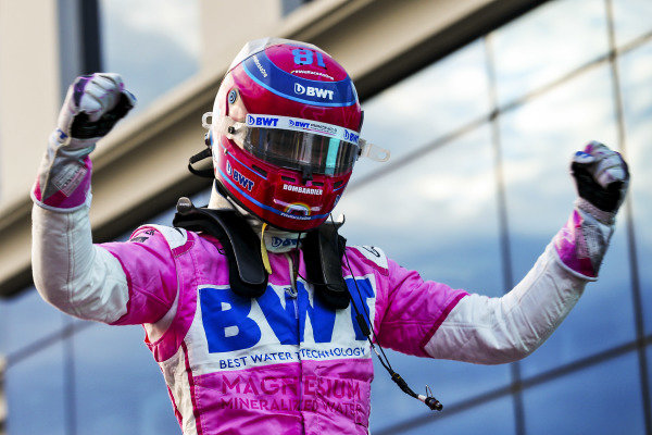 Pole Sitter Lance Stroll, Racing Point celebrates in Parc Ferme