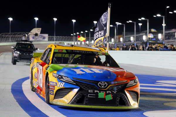 #18: Kyle Busch, Joe Gibbs Racing, Toyota Camry M&M's celebrates his race and championship wins