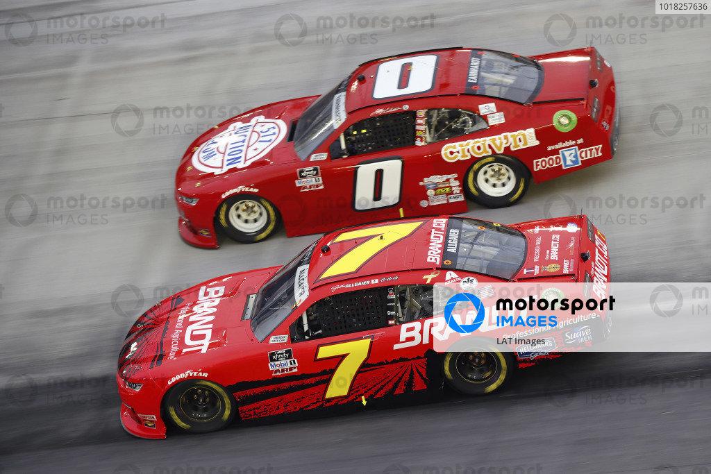 #7: Justin Allgaier, JR Motorsports, Chevrolet Camaro BRANDT and #0: Jeffrey Earnhardt, JD Motorsports, Chevrolet Camaro TeamJDMotorsports.com