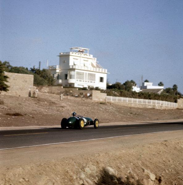 1958 Moroccan Grand Prix.Ain-Diab, Casablanca, Morocco.17-19 October 1958.Cliff Allison (Lotus 12 Climax) 10th position.Ref-3/0124.World Copyright - LAT Photographic