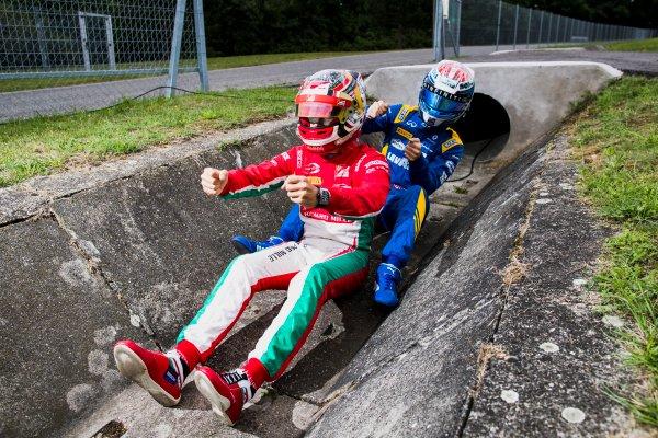 2017 FIA Formula 2 Round 7. Hungaroring, Budapest, Hungary. Thursday 27 July 2017. Charles Leclerc (MCO, PREMA Racing) and Nicholas Latifi (CAN, DAMS).  Photo: Zak Mauger/FIA Formula 2. ref: Digital Image _56I0217