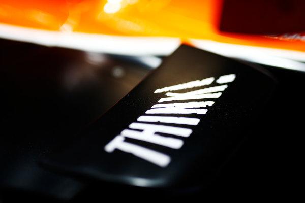 "Silverstone, Northamptonshire, UK.  Thursday 13 July 2017. ""Think!"" branding on a McLaren MCL32 Honda.  World Copyright: Andy Hone/LAT Images  ref: Digital Image _ONZ3152"