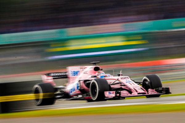 Silverstone, Northamptonshire, UK.  Friday 14 July 2017. Sergio Perez, Force India VJM10 Mercedes. World Copyright: Glenn Dunbar/LAT Images  ref: Digital Image _X4I3494
