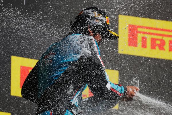 Circuit de Catalunya, Barcelona, Spain. Sunday 14 May 2017 Arjun Maini (IND, Jenzer Motorsport) Dorian Boccolacci (FRA, Trident) and Alessio Lorandi (ITA, Jenzer Motorsport)  Photo: /GP3 Series Media Service ref: Digital Image _54I9526