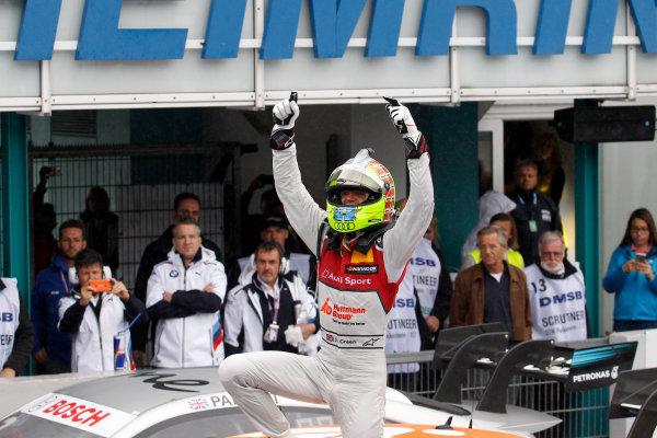 2017 DTM Round 1 Hockenheim, Germany. Sunday 7 May 2017. Race winner Jamie Green, Audi Sport Team Rosberg, Audi RS 5 DTM World Copyright: Alexander Trienitz/LAT Images ref: Digital Image 2017-DTM-R1-HH-AT1-3641