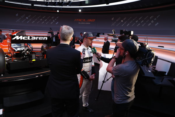 McLaren MCL32 Honda Formula 1 Launch. McLaren Technology Centre, Woking, UK. Friday 24 February 2017. Stoffel Vandoorne, McLaren, is interviewed by the media. World Copyright: Glenn Dunbar/LAT Images Ref: _31I9574