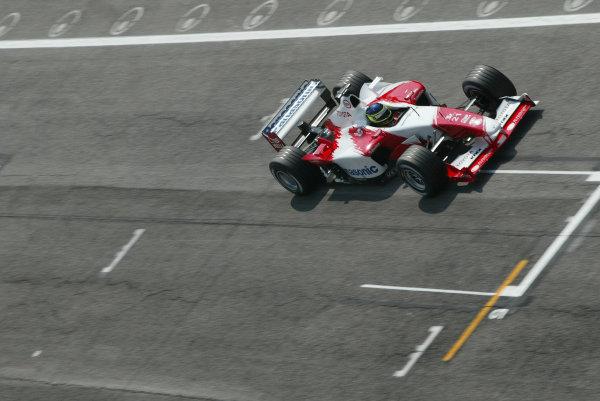2003 San Marino Grand Prix - Friday 1st QualifyingImola, Italy. 18th April 2003Cristiano da Matta, Toyota TF103, action.World Copyright: Steve Etherington/LAT Photographic ref: Digital Image Only