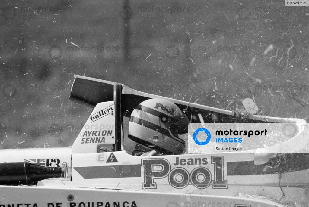 Ayrton Senna (BRA) West Surrey Racing Ralt-Toyota RT3/83, suffered an accident. British Formula Three Championship, Cadwell Park, England. 19 June 1983.