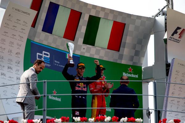 2016 GP2 Series Round 9. Autodromo Nazionale di Monza, Monza, Italy. Sunday 4 September 2016. Pierre Gasly (FRA, PREMA Racing), Norman Nato (FRA, Racing Engineering), Antonio Giovinazzi (ITA, PREMA Racing)  Photo: Zak Mauger/GP2 Series Media Service. ref: Digital Image _L0U6175