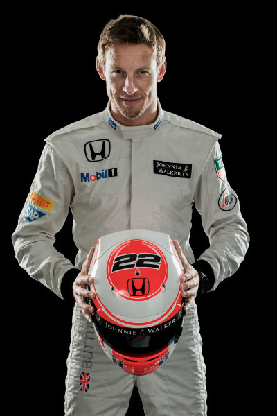 McLaren Honda MP4-30 Reveal Woking, UK. 29 January 2015 Jenson Button. Photo: McLaren (Copyright Free FOR EDITORIAL USE ONLY) ref: Digital Image MH-Drivers-20150127-0471