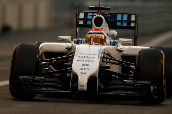 Yas Marina Circuit, Abu Dhabi, United Arab Emirates. Wednesday 26 November 2014. Felipe Nasr, Williams FW36 Mercedes.  World Copyright: Sam Bloxham/LAT Photographic. ref: Digital Image _G7C9956