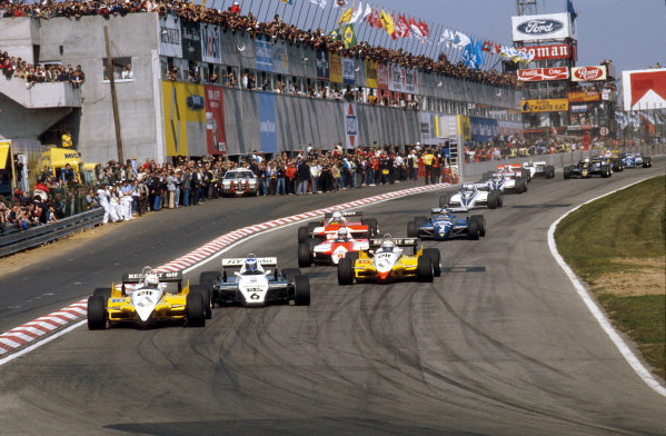 Zolder, Belgium.7-9 May 1982.Rene Arnoux (Renault RE30B) leads Keke Rosberg (Williams FW08 Ford), Alain Prost (Renault RE30B), Niki Lauda and John Watson (both McLaren MP4B Ford's) and Michele Alboreto (Tyrrell 011 Ford) at the start.Ref-82 BEL 21.World Copyright - LAT Photographic