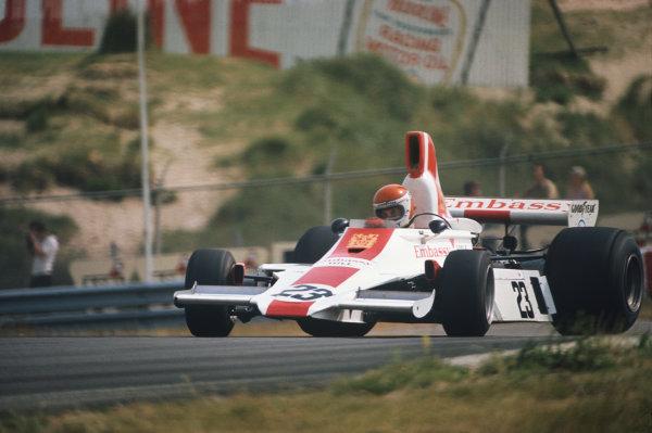 Zandvoort, Holland. 20-22 June 1975. Tony Brise, Hill GH1 Ford. Ref: 75HOL13. World Copyright - LAT Photographic