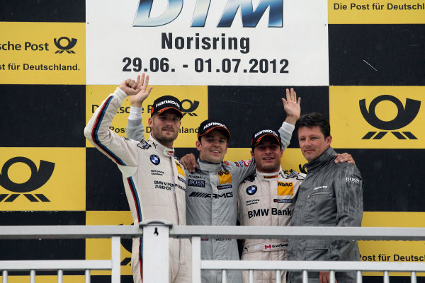 Round 5 - Norisring, Germany29th June - 1st July 2010Podium, 2nd Martin Tomczyk (GER) BMW Team RMG BMW M3 DTM, 1st Jamie Green (GBR), Team HWA AMG Mercedes, AMG Mercedes C-Coupe,3rd Bruno Spengler (CAN) BMW Team Schnitzer BMW M3 DTM, Axel Rand Randolph,Team leader Team HWA.World Copyright: XPB Images/LAT Photographic ref: Digital Image 2253214_HiRes