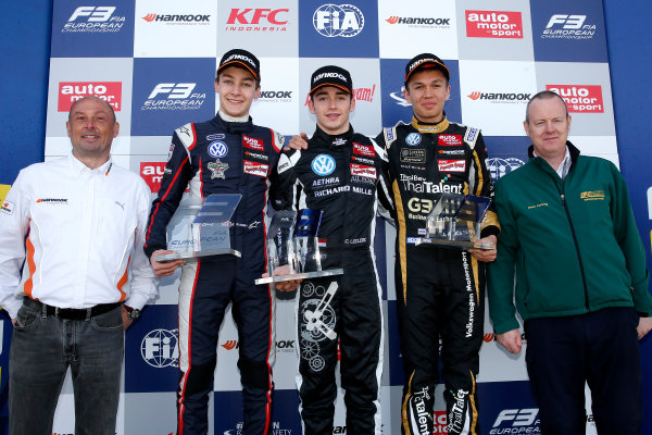 FIA F3 European Championship - Round 1, Race 3. Silverstone, Northamptonshire, UK 10th - 12th April 2015 Rooie prize giving ceremony, Christophe Stucki (Hankook Senior Manager Motorsport), 10 George Russell (GBR, Carlin, Dallara F312 – Volkswagen), 7 Charles Leclerc (MCO, Van Amersfoort Racing, Dallara F312 – Volkswagen), 21 Alexander Albon (THA, Signature, Dallara F312 – Volkswagen), Drew Furlong (BRSCC Competitions Director). Copyright Free FOR EDITORIAL USE ONLY. Mandatory Credit: FIA F3. ref: Digital Image FIAF3-1428834985