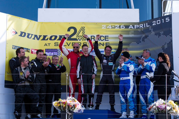 2015 Silverstone Dunlop Britcar 24 Hour. Silverstone, Northamptonshire. 24th - 26th April 2015. Podium. Class 5. First, #62 - Ivo Breukers (NL)/Rik Breukers (NL)/Sjaco Griffioen (NL) - Red Camel - Jordans.nl, Seat Leon, Second, #65 - Paul Mensley (GB)/Nick Boon (GB)/James Ashtno (GB)/Mike Nash (GB)/Paul Anderton (GB) - Mensley Motorsport, Ford Fiesta, Third, #66 - Gavin Spencer (GB)/Frank Pettitt (GB)/Carey Lewis (GB)/Andy Ruthven (GB) - WEC Motorsport 2, Seat Super Copa. World Copyright: Zak Mauger/LAT Photographic. ref: Digital Image _L0U1419