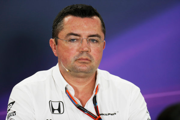 Bahrain International Circuit, Sakhir, Bahrain. Friday 17 April 2015. Eric Boullier, Racing Director, McLaren, in the Team Principals Press Conference. World Copyright: Alastair Staley/LAT Photographic. ref: Digital Image _79P3998