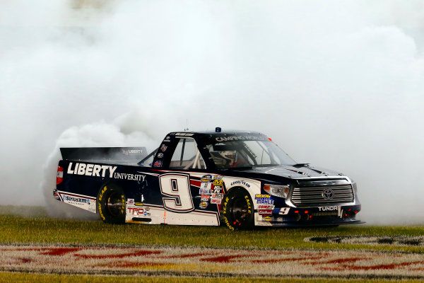 17-18 June, 2016, Newton, Iowa USA William Byron celebrates his win with a burnout ?2016, Russell LaBounty LAT Photo USA