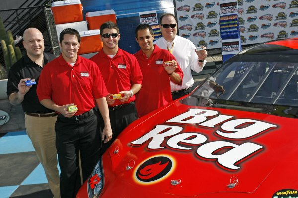 At a press conference today at Phoenix International Raceway, The Wm. Wrigley Jr. Company announced its NASCAR debut through a partnership with Chip Ganassi Racing with Felix Sabates.  Wrigley's VP of U S. Marketing Paul Chibe is joined here by drivers (left to right) David Stremme, Reed Sorenson and Juan Pablo Montoya along with team owner Chip Ganassi after unveiling the No. 42 Big Red Dodge, which will be piloted by Montoya for three NEXTEL Cup races in 2007.  Sorenson and Stremme will drive the No. 41 Dodge for 25 Busch Series races featuring a rotation of Wrigley's Spearmint, Doublemint, Juicy Fruit and Winterfresh paint schemes.