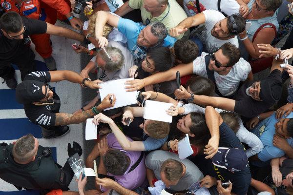 Autodromo Nazionale di Monza, Monza, Italy. Thursday 3 September 2015. Lewis Hamilton, Mercedes AMG, signs autographs for fans. World Copyright: Steve Etherington/LAT Photographic ref: Digital Image SNE23444