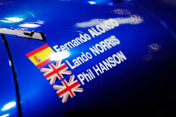Autosport International Exhibition. National Exhibition Centre, Birmingham, UK. Friday 12th January 2018. The names of Fernando Alonso, Lando Norris and Phil Hanson on a United Autosports sportscar.World Copyright: Glenn Dunbar/LAT Images Ref: _X4I8212