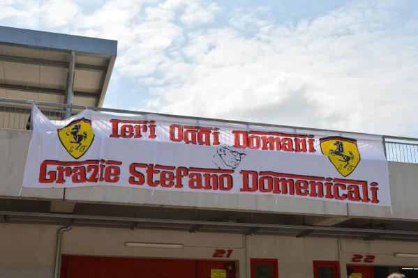 Banner thanking Stefano Domenicali (ITA). Ayrton Senna and Roland Ratzenberger Tribute Weekend, Imola, San Marino, Italy, 1-4 May 2014.