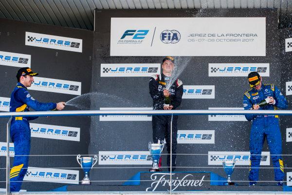2017 FIA Formula 2 Round 10. Circuito de Jerez, Jerez, Spain. Sunday 8 October 2017. Nicholas Latifi (CAN, DAMS), Artem Markelov (RUS, RUSSIAN TIME), Oliver Rowland (GBR, DAMS).  Photo: Zak Mauger/FIA Formula 2. ref: Digital Image _X0W2944