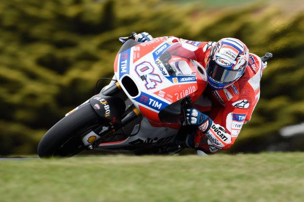 2017 MotoGP Championship - Round 16 Phillip Island, Australia. Friday 20 October 2017 Andrea Dovizioso, Ducati Team World Copyright: Gold and Goose / LAT Images ref: Digital Image 698656