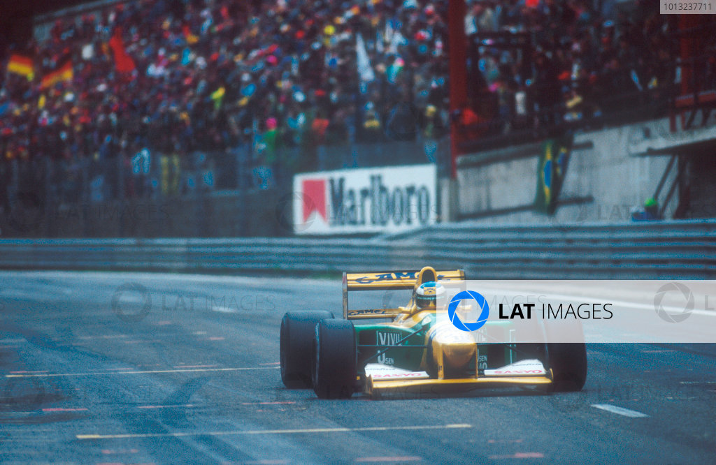 Spa-Francochamps, Belgium.28-30 August 1992.Michael Schumacher (Benetton B192 Ford) 1st position for his maiden Grand Prix win. 