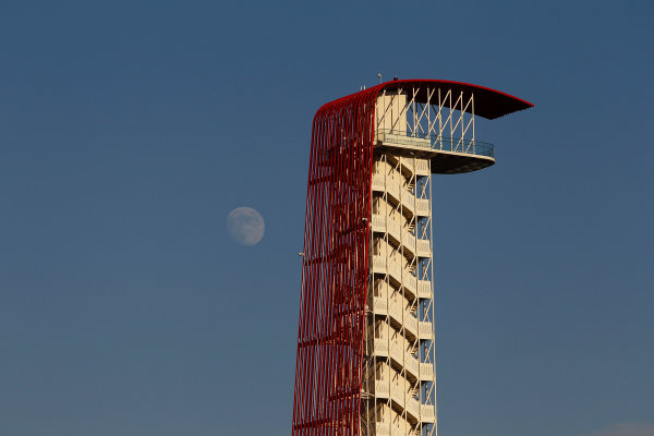 Circuit of the Americas, Austin, Texas, United States of America. Thursday 14th November 2013.  The tower in the middle of the circuit, flanked by the moon. World Copyright: Glenn Dunbar/LAT Photographic. ref: Digital Image _G7C3782