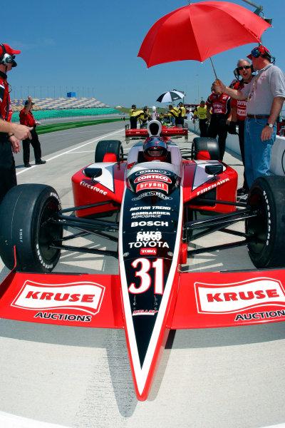 2003 IRL IndyCar Kansas City, 4-6 July 2003Kansas Speedway, Kansas City, KS USAAl Unser Jr. waits for practice to begin-2003 Lesley Ann Miller, USALAT Photographic