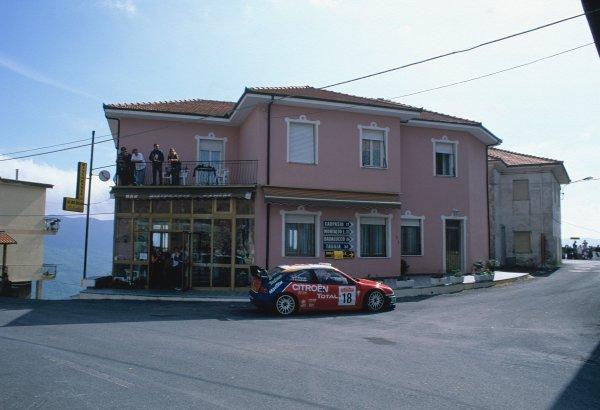 2003 World Rally ChampionshipRally of San Remo, Italy. 2nd - 5th October 2003.Sebastien Loeb / Daniel Elena, Citroen Xsara. Mountains, Bar, Action.World Copyright: McKLEIN/LATref: 35mm Image WRCSANREMO09 jpg