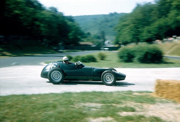 1957 French Grand Prix.Rouen-Les-Essarts, France.5-7 July 1957.Ron Flockhart (BRM P25).Ref-57 FRA 06.World Copyright - LAT Photographic