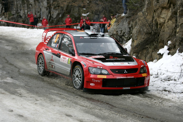 2005 FIA World Rally Champs. Round one, Rally Monte Carlo 20th-23rd January 2005. Gilles Panizzi, Mitsubishi, action World Copyright: McKlein/LAT