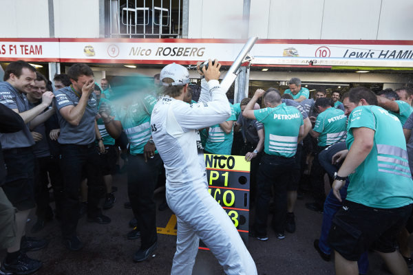o 26th May 2013. Nico Rosberg and the Mercedes team celebrate victory. World Copyright: Steve Etherington/c ref: Digital Image SNE23933 copy