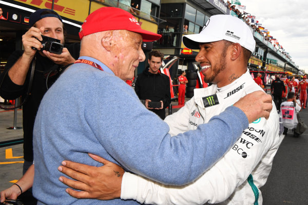 Pole sitter Lewis Hamilton (GBR) Mercedes-AMG F1 celebrates in parc ferme with Niki Lauda (AUT) Mercedes AMG F1 Non-Executive Chairman