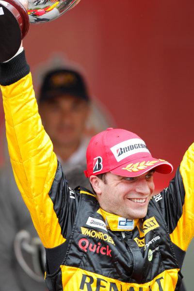 Monte Carlo, Monaco. 15th May 2010. Saturday Race.Jerome D'Ambrosio (BEL, Dams) celebrates his victory on the podium. Photo: Andrew Ferraro/GP2 Media Service.Ref: _Q0C7574 jpg