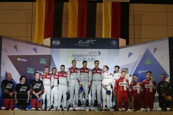 2016 FIA World Endurance Championship, Bahrain International Circuit, 17th-19th November 2016, P1 Podium - Lucas di Grassi / Loic Duval / Oliver Jarvis - Audi Sport Team Joest Audi R18  World Copyright. Jakob Ebrey/LAT Photographic